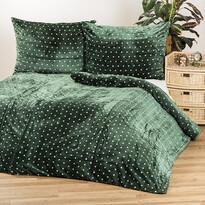 Pościel pluszowa Polka zielony, 140 x 200 cm, 70 x 90 cm