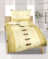 Lenjerie dep pat din crep, DE Luxe, 2 pers.,Pătrate bej, 240 x 200 cm, 2 buc. 70 x 90 cm