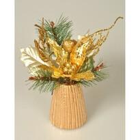 Aranjament Poinsettie auriu, 23cm