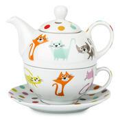 3dílná čajová sada barevné kočky