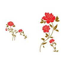Naklejka dekoracyjna czerwone kwiaty