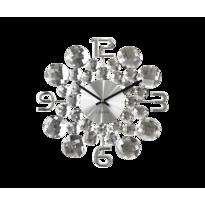 Nástenné hodiny Lavvu Crystal Jewel strieborná, pr. 34 cm