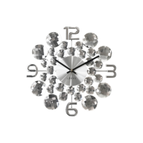Zegar ścienny Lavvu Crystal Jewel srebrny, śr. 34 cm
