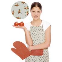 Fartuch z rękawicą kuchenną, pomarańczowy kwiat