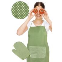 Zástěra s chňapkou, zelený puntík