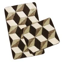 Sada kúpeľňových predložiek Ultra Hnedá kocky, 60 x 100 cm, 60 x 50 cm