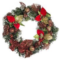Vianočný veniec s poinsettiou pr. 30 cm, červená