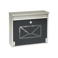 Stalowa skrzynka pocztowa z hartowanym szkłem, czarny