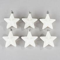 Hvězda bílé třpytky 6 ks, bílá