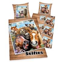 Lenjerie de pat, din bumbac, Farm Selfie, 140 x 200 cm, 70 x 90 cm
