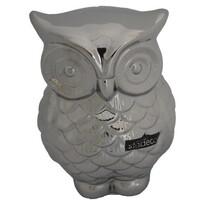 StarDeco Dekoracja ceramiczna Sowa srebrny, 16,5 cm