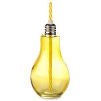 Pohár so slamkou Žiarovka 400 ml, žltá