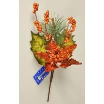 Vánoční větvička Poinsettie s bobulemi měděná, 45 cm