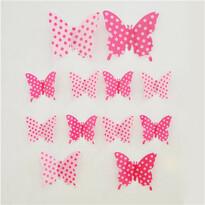 Naklejki 3D motyle różowe kropki, 12 szt.