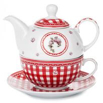 3-dielna čajová sada Elegant, červená