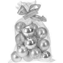Vianočné gule Candy 16 ks, strieborná
