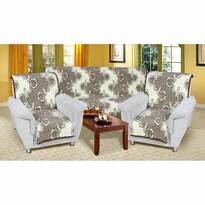 Cuverturi de canapea şi fotolii Karmela Plus, Flori maro, 150 x 200 cm, 2 buc. 65 x 150 cm