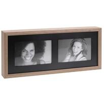 Fotorámček Wood na 2 fotografie, čierna + hnedá