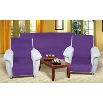 Narzuty na kanapę i fotele Korall micro fioletowy, 150 x 200 cm, 2 szt. 65 x 150 cm