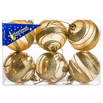 Vianočné gule s pruhmi 6 ks, zlatá