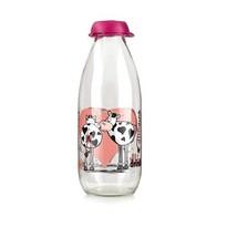 Bamquet Fľaša na mlieko Funny Cow 1 l ružová