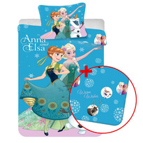 Korzystny zestaw pościel dziecięca i prześcieradło Kraina Lodu Frozen