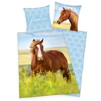 Lenjerie de pat, din bumbac, Horse Freedom, 140 x 200 cm, 70 x 90 cm