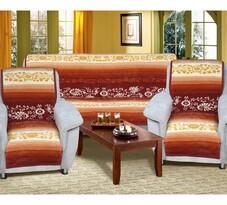 Cuverturi de canapea şi fotolii Karmela Plus, Flori crem, 150 x 200 cm, 2 buc. 65 x 150 cm