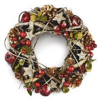 Vianočný ratanový veniec Manzana červená, 25 cm