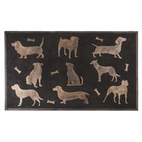 Gumová rohožka Psy bronzová patina, 75 x 45 cm