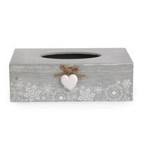 Box na vreckovky Love Winter sivá, 25,5 x 8,5 cm