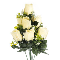 Buchet artificial Trandafiri crem, 48 cm