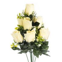 Umelá kytica Ruže krémová, 48 cm