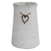 StarDeco Váza se srdíčkem šedá, 25 cm