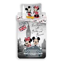 Lenjerie de pat din bumbac pentru copii Mickey şi Minnie In London 2017, 140 x 200 cm, 70 x 90 cm
