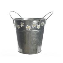 Zinkový květináč Flowers, 16 cm