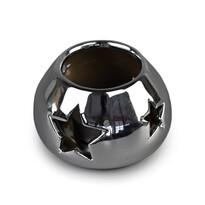 Ceramiczny świecznik bożonarodzeniowy, srebrny