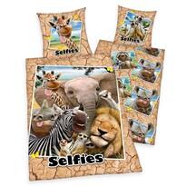 Pościel bawełniana Zoo Selfie, 140 x 200 cm, 70 x  90 cm