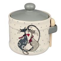 Doză ceramică Cats, cu linguriţă, 10 cm