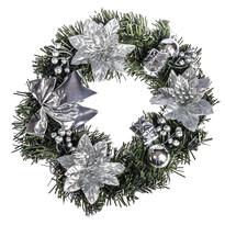 Wieniec świąteczny z poinsecją 25 cm, srebrny