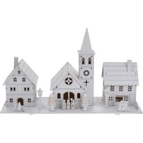 Karácsonyi falucska dekoráció, fehér