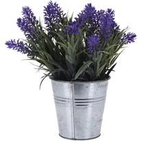 Umelá levanduľa v plechovom kvetináči tmavofialová, 24 cm