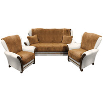 4Home Narzuty na kanapę i fotele Baranek ciemny brąz, 150 x 200 cm, 2 szt. 65 x 150 cm