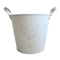 StarDeco Ghiveci metalic alb, 22,5 cm