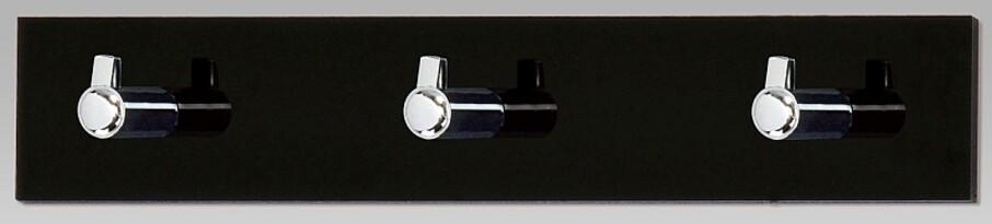 Nástenný vešiak 3 háčiky, čierny akrylát