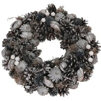 Coroniţă de Crăciun Troia, gri, diam. 33 cm