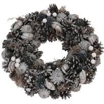 Vánoční věnec Troia šedá, pr. 33 cm
