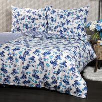 Pościel bawełniana Flower niebieski, 140 x 200 cm, 70 x 90 cm
