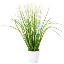 Umelá kvitnúca tráva Justine biela, 36 cm