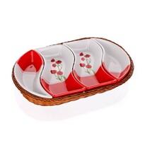 BANQUET Red Poppy 4dílná servírovací tác v košíku